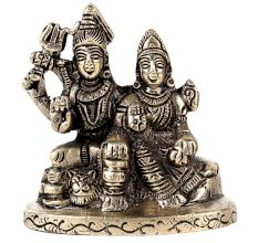 Shiv Parvati Statue In Silver Nickle Finish