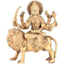 Brass Goddess Durga Statue Sitting On Tiger