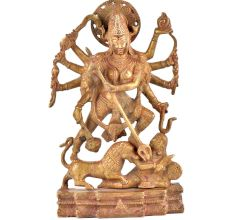 Brass Durga Statue Goddess Durga Slaying Demon Mahishasura
