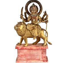 Goddess Brass Durga Ma Statue Decorated With Jewelry