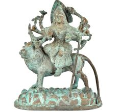 Brass Goddess Durga Statue Sitting On Tiger With Patina Finish