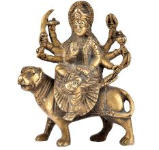 Brass Ma Durga Statue Hindu Puja Idol