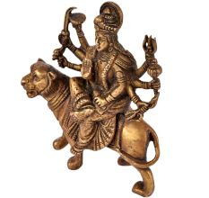 Brass Durga Statue Seated on Her Vehicle Lion Hindu Worship Statue