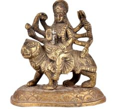 Brass Durga Statue Beautiful Sherawali Worship Statue