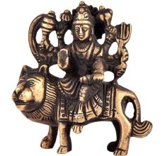 Brass Durga Statue Lord Bhagwati Seated On Lion Idol
