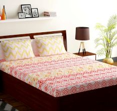 Bombay Dyeing Red Yellow Abstract 120 TC Cotton Double 1 Bedsheet With 2 Pillow Covers