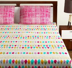 Bombay Dyeing Pink And Peach Geometric Design 120 TC Cotton Double 1 Bedsheet With 2 Pillow Covers
