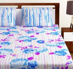 Bombay Dyeing  Blue And White Abstract 120 TC Cotton Double 1 Bedsheet With 2 Pillow Covers
