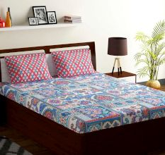 Bombay Dyeing  Blue Red Abstract 180 TC Cotton Double 1 Bedsheet With 2 Pillow Covers