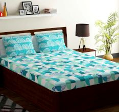Bombay Dyeing Blue Aqua Geometric 180 TC Cotton Double 1 Bedsheet With 2 Pillow Covers