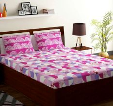Bombay Dyeing Pink Geometric 180 TC Cotton Double 1 Bedsheet With 2 Pillow Covers