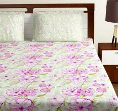 Bombay Dyeing Pink White Big Floral 180 TC Cotton Double 1 Bedsheet With 2 Pillow Covers