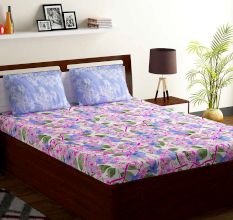 Bombay Dyeing Lavender Blue Floral 180 TC Cotton Double 1 Bedsheet With 2 Pillow Covers