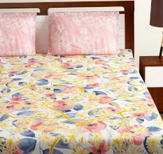 Bombay Dyeing Pink Multi Colored Floral TC Cotton Double 1 Bedsheet With 2 Pillow Covers