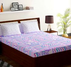 Bombay Dyeing Lavender Abstract 180 TC Cotton Double 1 Bedsheet With 2 Pillow Covers