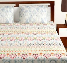 Bombay Dyeing Pink White Floral 180 TC Cotton Double 1 Bedsheet With 2 Pillow Covers