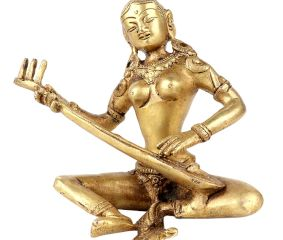 Brass Lady Sitting With Playing Veena Statue