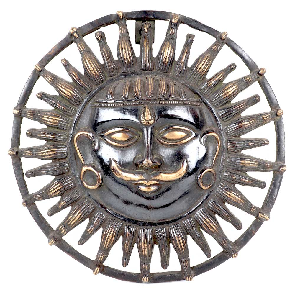 Brass Lord Surya Dev RoundWall Art