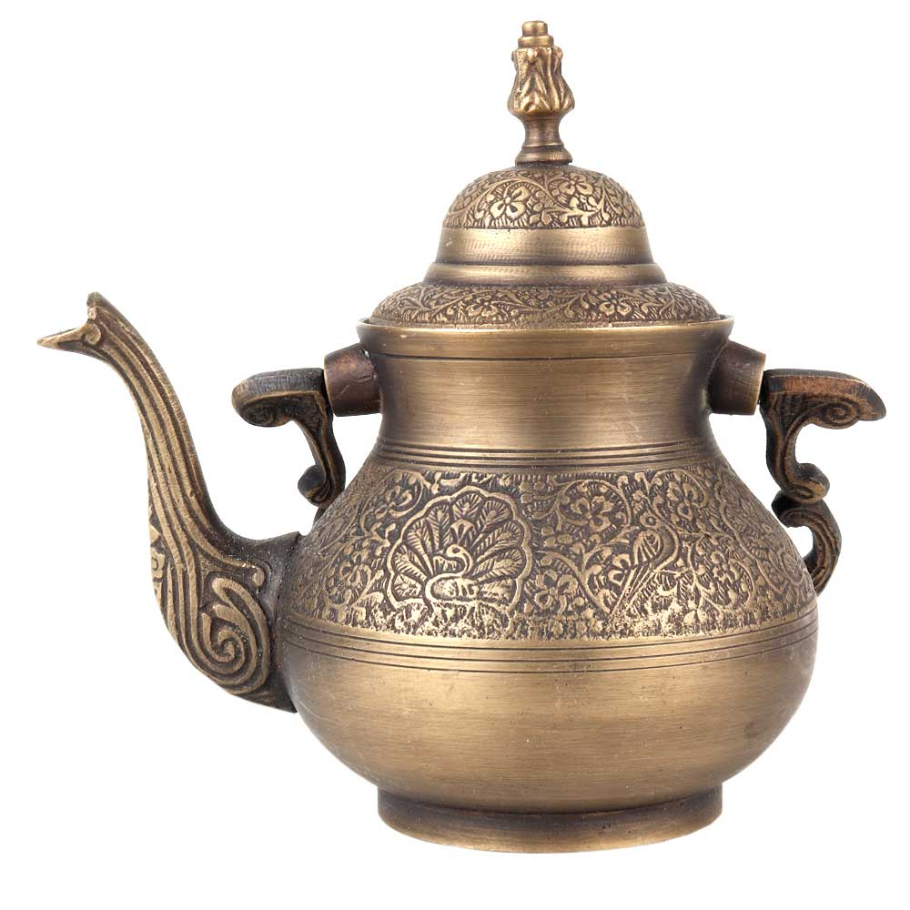 Brass Kettle With Peacock Engravings