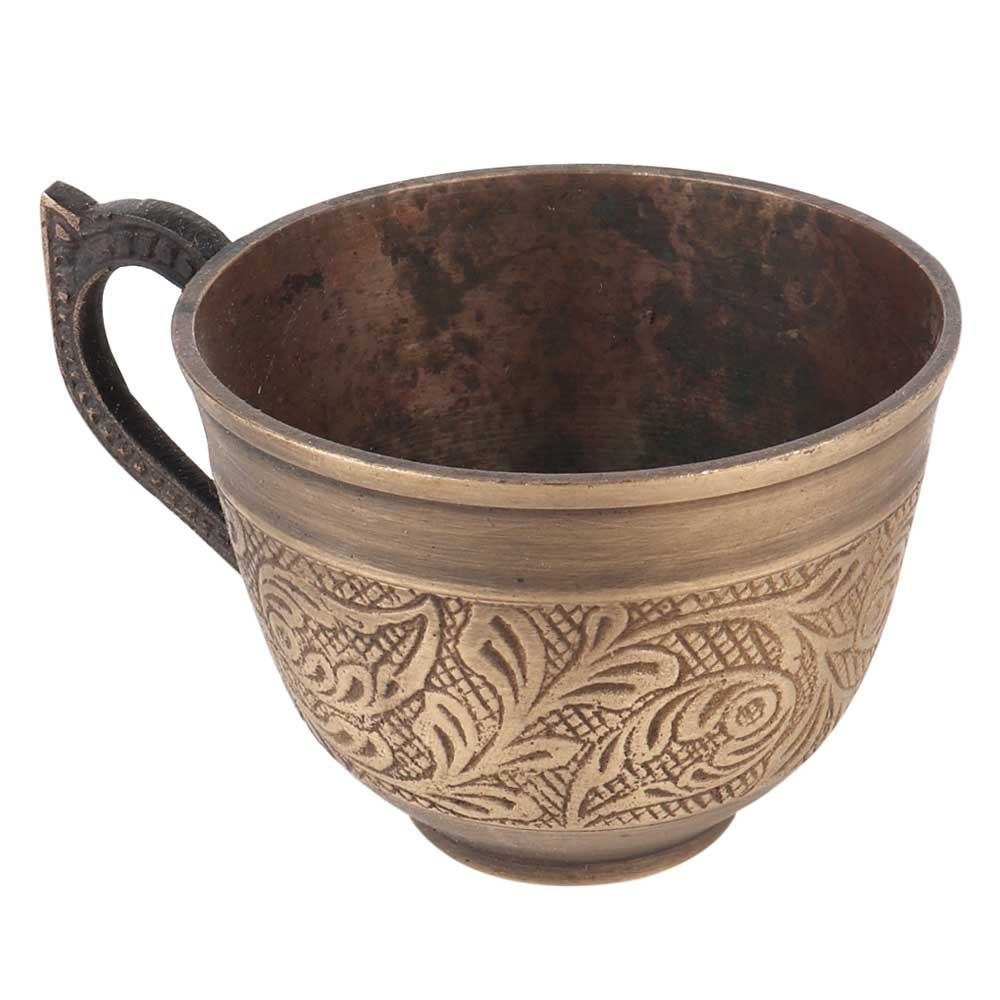 Brass Cup With Floral Carvings