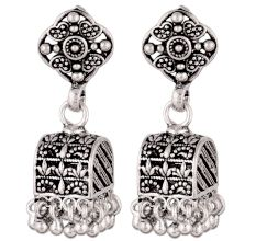 92.5 Silver Sterling Earrings  Ethnic Indian Floral Stud Jhumka Dangle Earrings