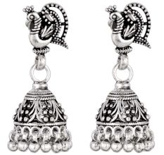 92.5 Sterling Silver Earrings Peacock Oxidized Silver Jhumka Earrings