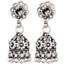 92.5 Sterling Silver Earrings Intricate Floral Stud  Traditional Jhumkies