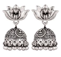 92.5 Sterling Silver Earrings Lotus Flower Stud Jhumkies