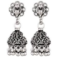 92.5 Solid Sterling Silver Earring Oxidize Rose Flower Design Jhumka Earring