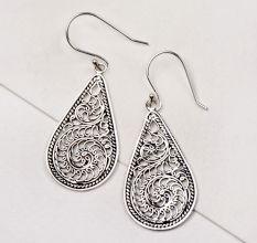 92.5 Silver Earrings Womens Design Collection Silver Scroll Teardrop Earrings