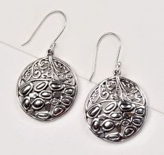 Round 92.5 Sterling Silver Earrings Scroll Filigree Dangle Bridal Earrings
