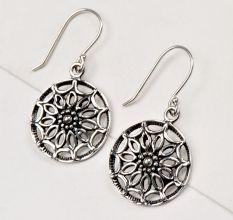 92.5 Sterling Silver Earrings Round Scroll Hanging Danglers