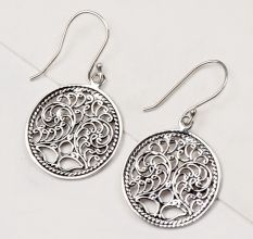 92.5 Sterling Silver Earrings Scrolled Engraved Circle Drop Earrings