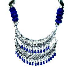 Handmade Tribal Blue Color German Silver Pendant  Jewellery Set