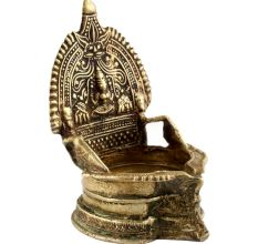 Handmade Brass Oil lamp Engraved Design Indian Pooja Lamp