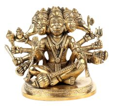 Handmade Panchmukhi Sitting Brass Hanuman Statue