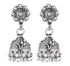 92.5 Sterling Silver Flower Jhumkis Silver Chandelier Earrings