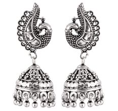 Peacock 92.5 Sterling Silver Earrings Engraved  Jhumkis