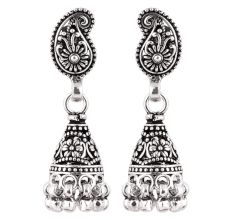92.5 Sterling Silver Earrings  Silver Paisley Jhumka