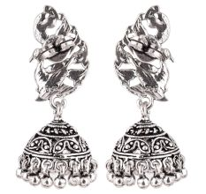 92.5 Sterling Silver Earrings Peacock Tribal Bell Dangle jhumkis