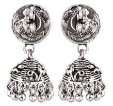 92.5 Sterling Silver Earrings Intricate Carved Peacock Stud Jhumkis