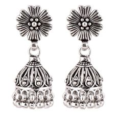 92.5 Sterling Silver Earrings Oxidized Flower Stud Tribal Jhumka/Jhumki With Silver Beads