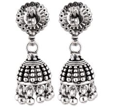 92.5 Sterling Silver Earrings Engraved Design Long Jhumkis