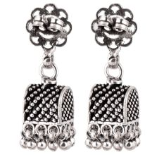 92.5 Sterling Silver Earrings Semi Circle Black Embossed Dotted Jhumki