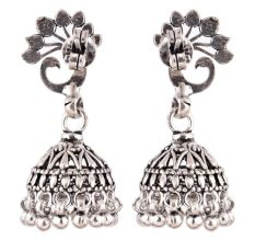 92.5 Sterling Silver Earrings Dancing Peacock Feathers Stud Jhumkis Party Wear