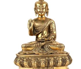 Brass Meditating Blessing Buddha Statue
