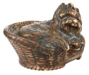 Brass Yorkshire Terrier Dog Sitting In A Basket Statue