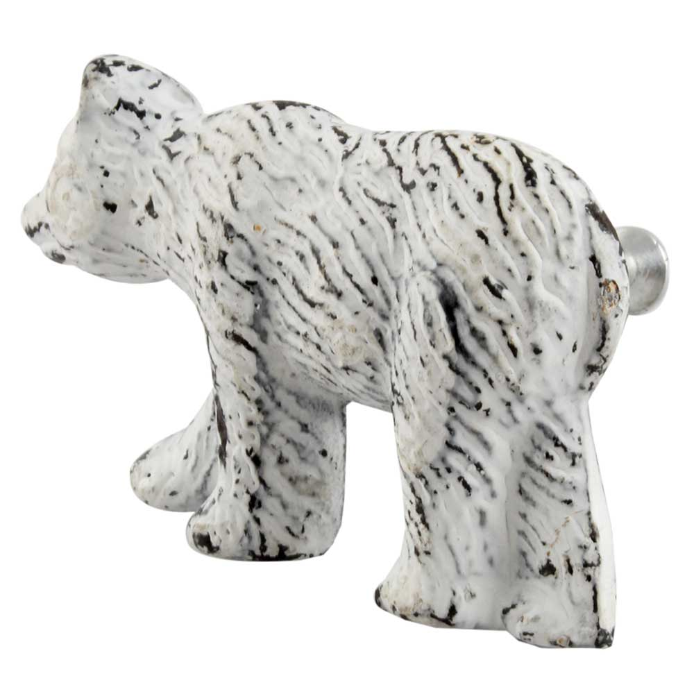 Antique White Bear Iron Dresser Knob