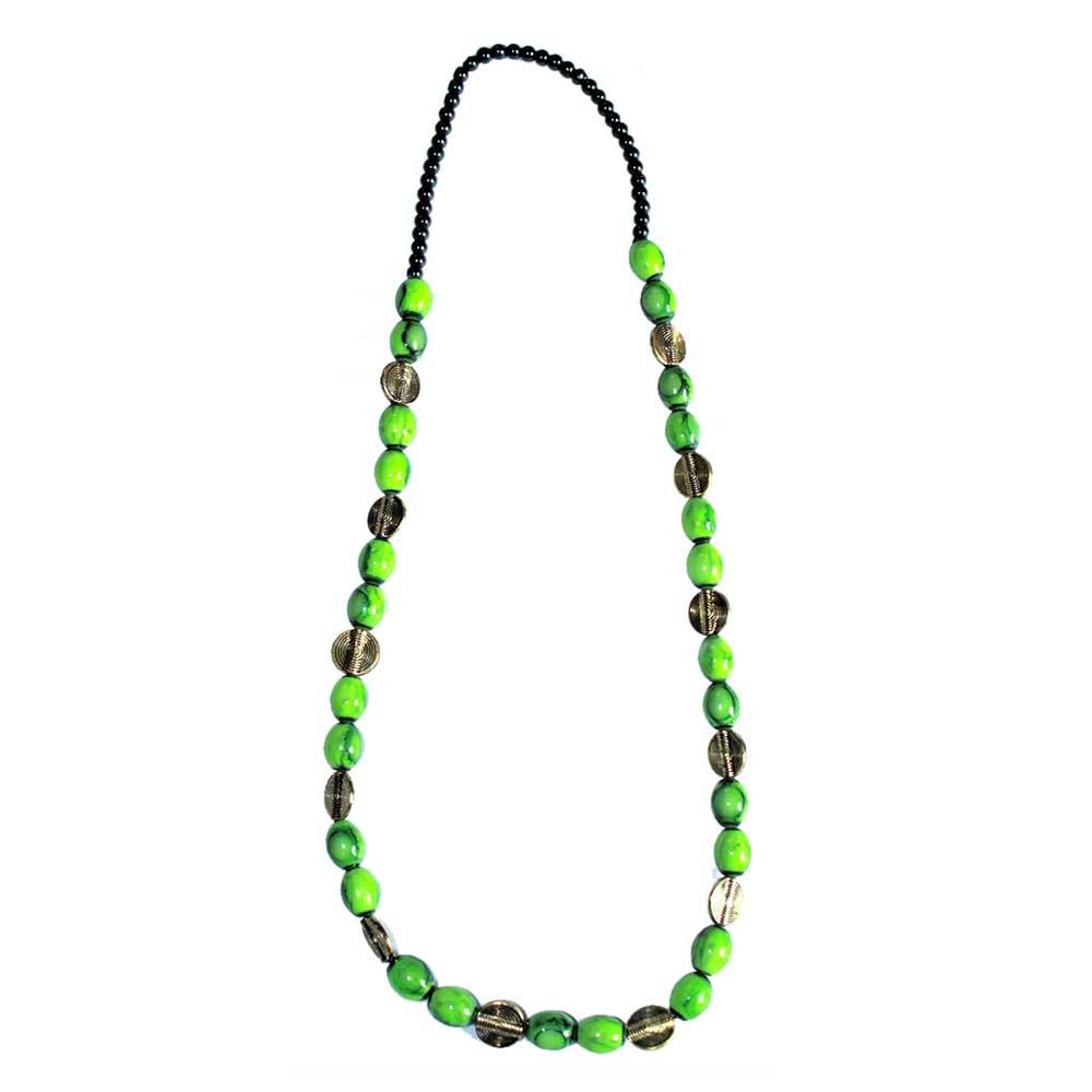 Handmade Green Color Glass Bead Jewellery Set