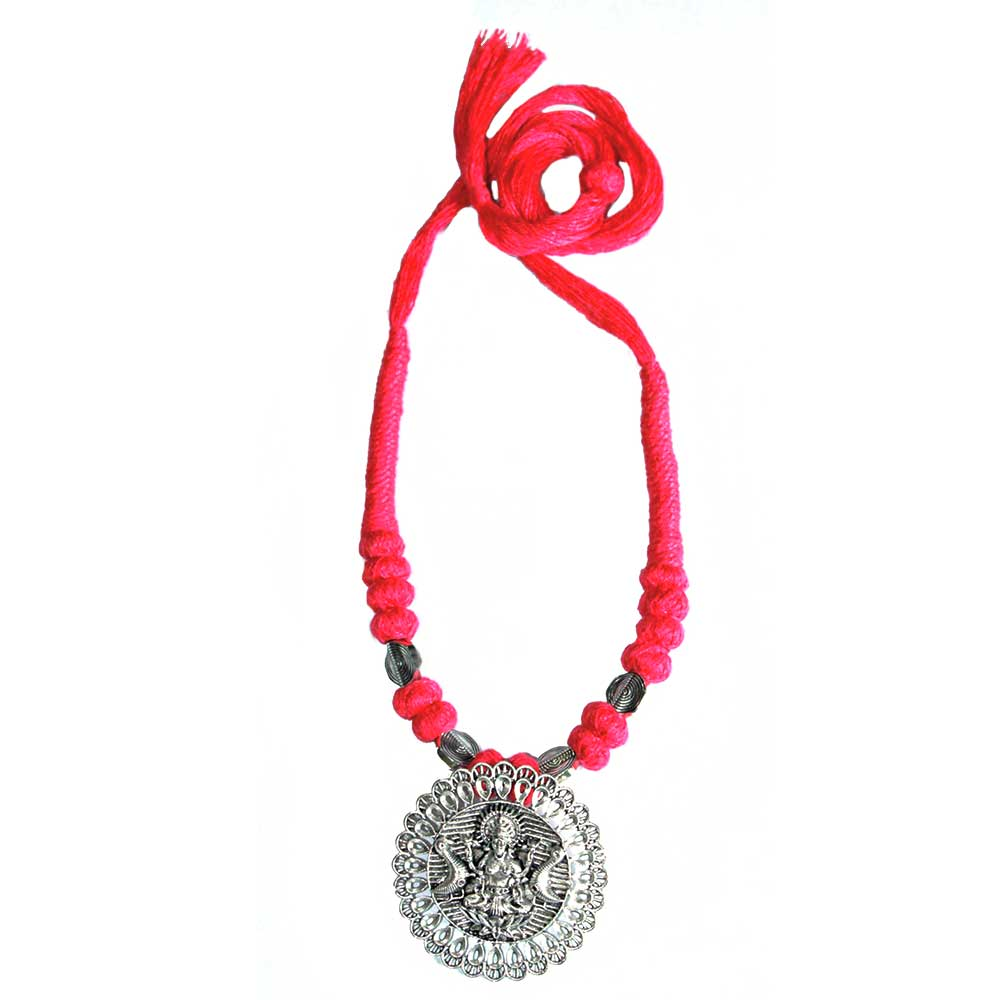 Handmade Pink Color German Silver Pendant  Jewellery Set